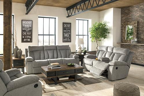 Mitchiner Angel Reclining Sofa w/ Drop Down Table Gray