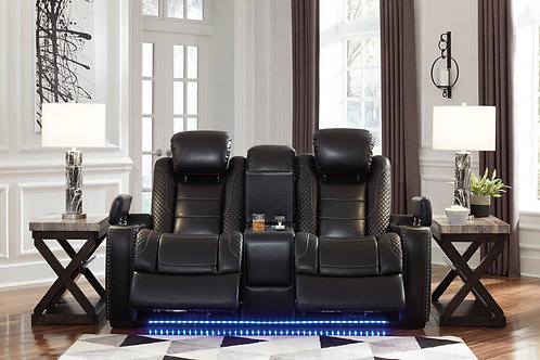 Party Angel Power Reclining Black Loveseat
