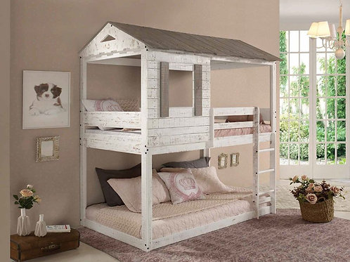Darlene All Cottage Rustic White Twin/Twin Bunk Bed