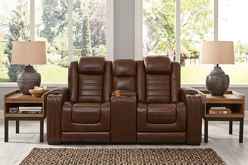 Angel Backtrack Chocolate Leather PWR Reclining Loveseat w/Adjustable Headrest