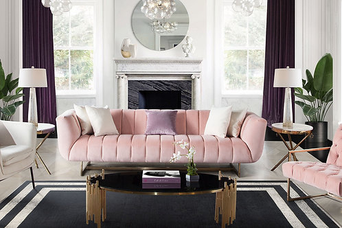 Dream Venus Blush Velvet / Brushed Gold Sofa