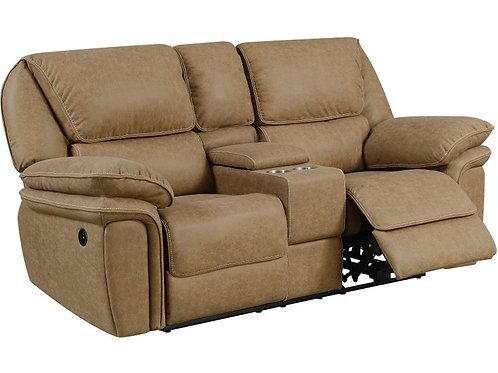 Emeral Allyn Light Brown Power Motion Console Loveseat w/USB Outlet