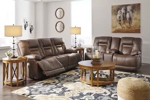 Wurstrow Angel Umber Top Grain Leather PWR REC Sofa with ADJ Headrest