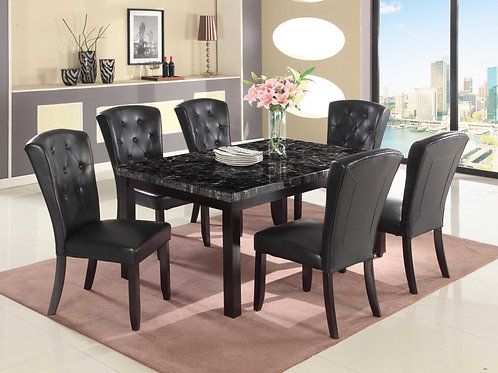7849 Milt Faux Marble Top Table & 6 PU Side Chairs (7pc set)