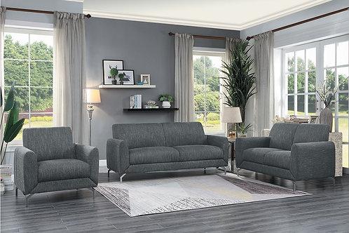 Henry Venture Dark Gray Fabric Sofa w/Chrome Legs