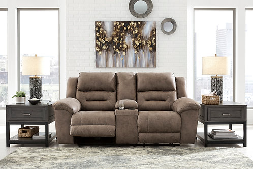 Angel Stoneland Fossil Microfiber Reclining Power Loveseat w/Console