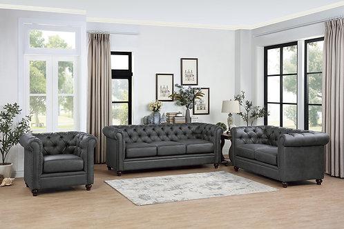 Walstone Henry Gray Polished Microfiber Sofa