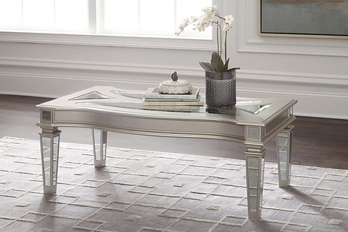 Tessani Angel Silver Mirrored Rectangular Cocktail Table