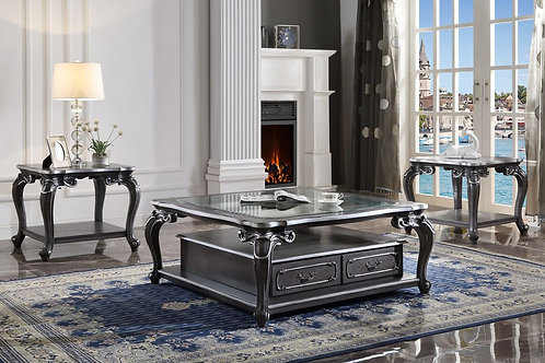 All House of Delphine 88830 Glass & Charcoal Finish Coffee Table