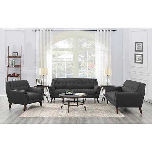 Emeral Binetti Mid-Century Charcoal Linen Tufted Sofa