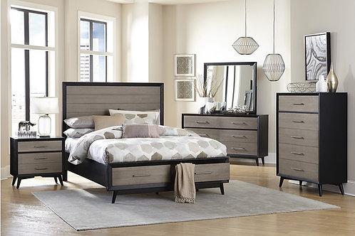 Raku Grey/Black Henry Mid-Century Modern Bed