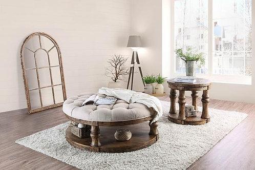 MIKA Imprad Rustic Antique Oak Round Beige Fabric Coffee Table