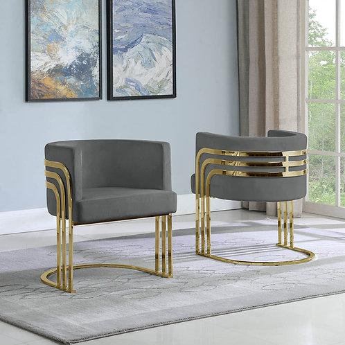 AC220 BestQ Dark Gray/Gold Velvet Chair