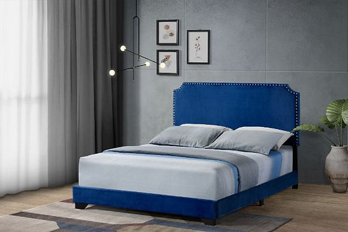 All HAEMON Blue Fabric- Nailheads Queen Bed - 26760Q