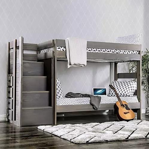 AMPELIOS Imprad Twin/Twin Rustic Gray Bunk Bed