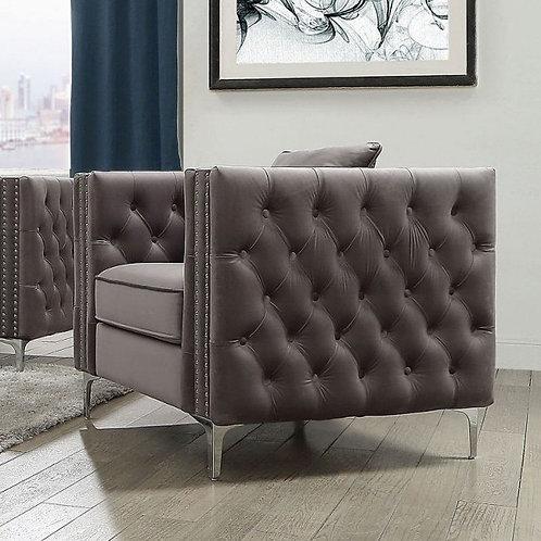 All Gillian II Chair w/1 Pillow Dark Gray Velvet