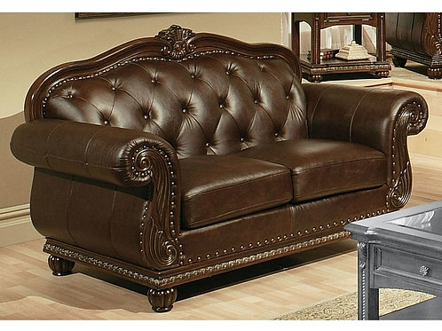 All Anondale Loveseat Espresso Top Grain Leather Match
