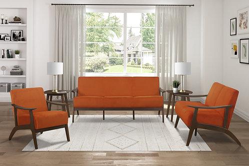 Carlson Henry Mid Century Orange Velvet Sofa