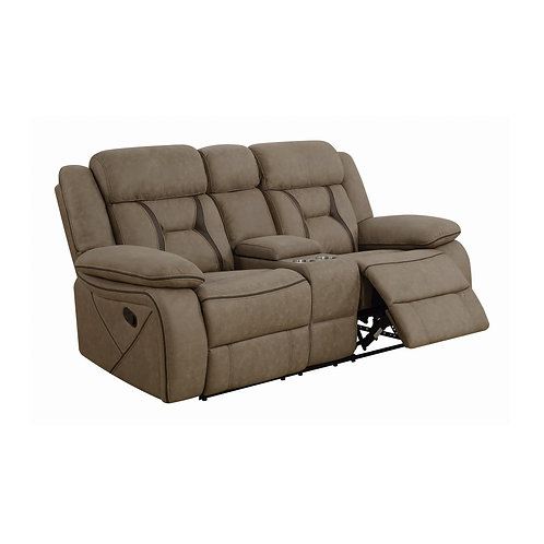 Higgins Cali Pillow Top Arm Motion Loveseat With Console Tan