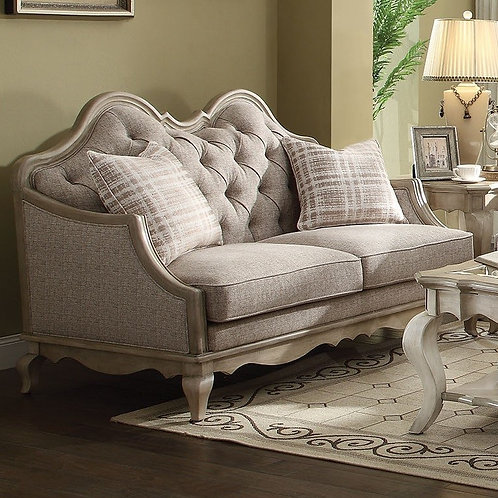 Chelmsford All Loveseat Beige Fabric & Antique Taupe Finish