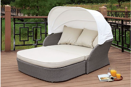 AIDA Imprad Gray Wicker Contemporary Patio Canopy Daybed