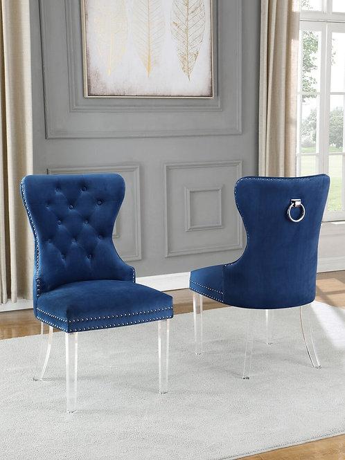 Best Q SC51 Velvet Gray/Acrylic Navy Blue Chair