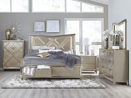 Bijou Henry Champagne Bed with Storage Footboard