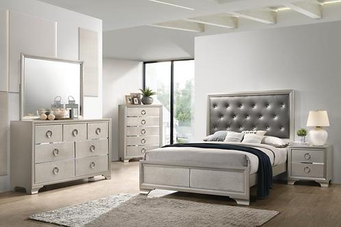 Cali Salford Glam Metallic Sterling Charcoal Leatherette Bed Frame