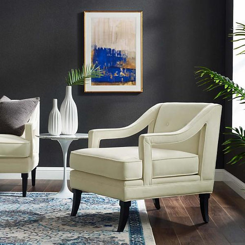 Concur Mod Button Tufted Performance Velvet Armchair in Ivory