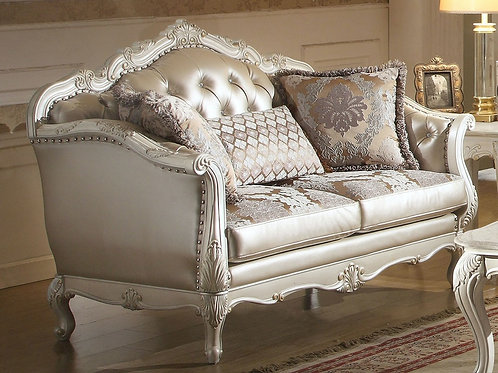 All Chantelle Loveseat w/3 Pillows  Rose Gold PU/Fabric & Pearl White