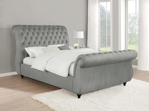 Cali Chelles Grey Velvet Tufted Crystal Buttons Bed Frame