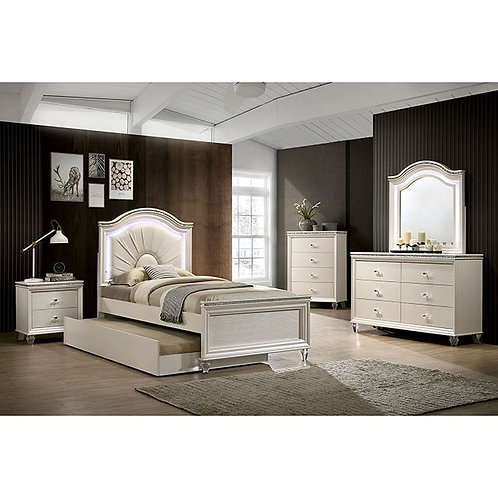 Allie Imprad Pearl White Bed with LED Lights and Trundle