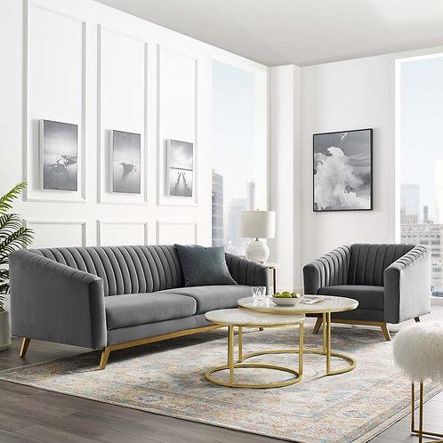 Valiant Mod Vertical Tufted Velvet Sofa in Gray