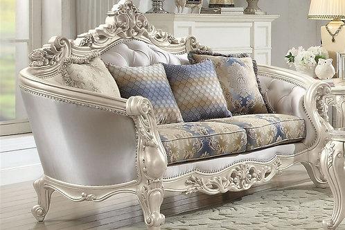 All Gorsedd Loveseat w/4 Pillows Fabric & Antique White