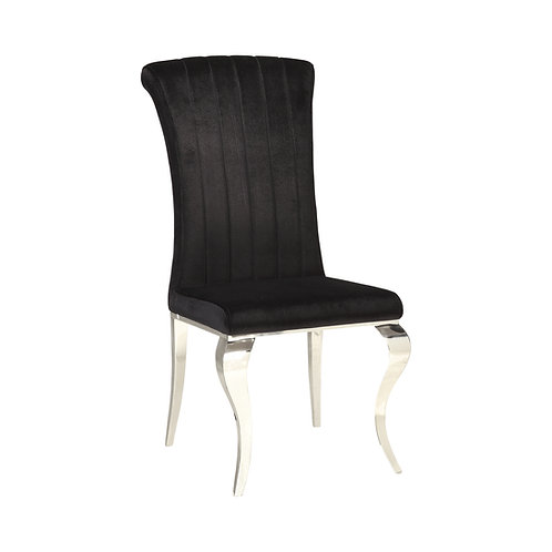 Carone Cali Upholstered Side Chair Black And Chrome