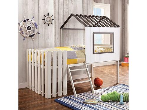 BOBBIE White, Gray House Design Twin Bunk Bed
