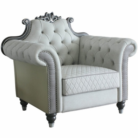 All House of Delphine Ivory Fabric, Beige PU & Charcoal Finish Chair