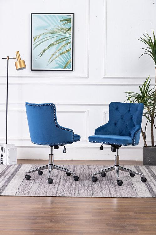 Best OC44 Blue Velvet Tufted Adjustable Office Chair