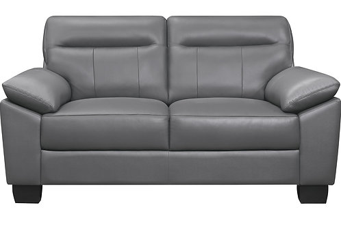 Denizen Henry Dark Gray Leather Loveseat Modern