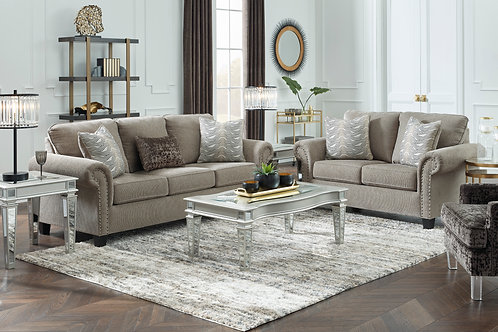Angel Shewsbury Taupe Chesterfield Sofa with Pillows