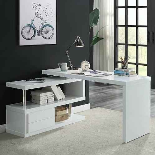 All Buck II White High Gloss Swivel Writing Desk