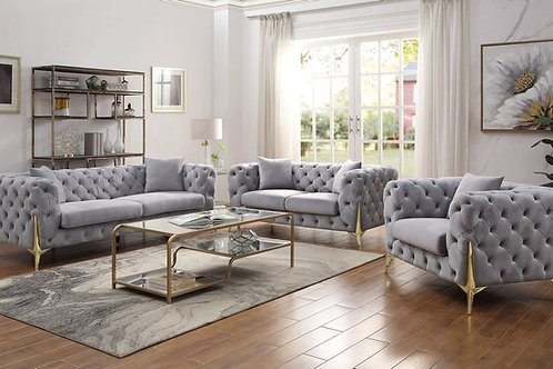 All JELANEA 56115 Tufted Grey Velvet & Gold Legs Sofa