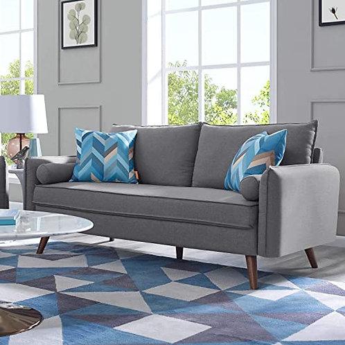 Revive Mod Mid-Century Fabric Sofa in Light Gray