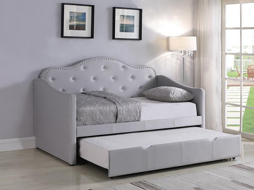 Pearlescent Cali Grey Twin Daybed with Trundle