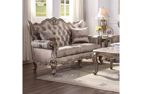 All Jayceon Traditional Fabric and Champagne Loveseat