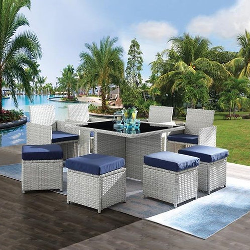 All Paitalyi 9Pc Patio Set Blue Fabric & Wicker