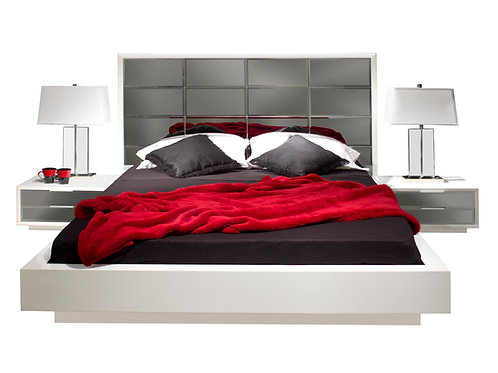 Mera Shar Lacquer White w/ Mirrored Bed includes  2 Nightstands