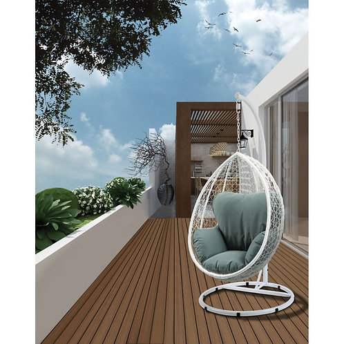 All Simona Patio Swing Chair with Stand - 45032 - Green Fabric & White Wicker
