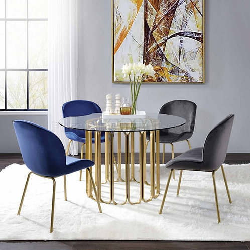 Pacheco All Round Glass Top, Gold Finish Base Dining Table