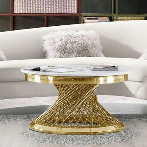 Solstice Dream Genuine Marble Top / Gold Base Round Coffee Table
